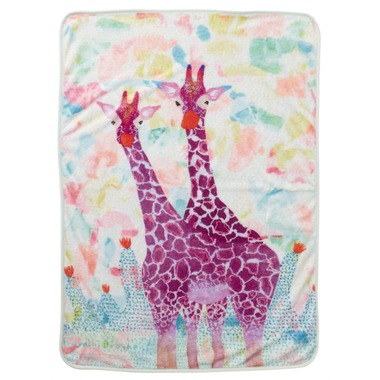 Fujiyoshi Brother's Collection Happy Animals Blanket Purple Giraffes