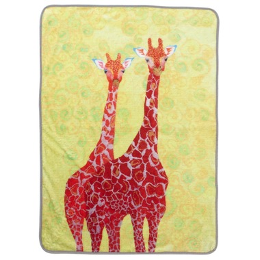 Fujiyoshi Brother's Collection Happy Animals Blanket Two Red Giraffes